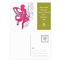 かなりピンクの翼の天使と蝶 詩のポストカードセットサンクスカード郵送側20個