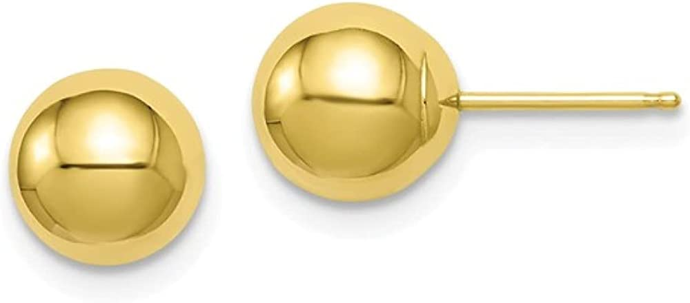 10K Yellow Gold Ball Stud Earrings with 5mm Backings, 3mm - 8mm