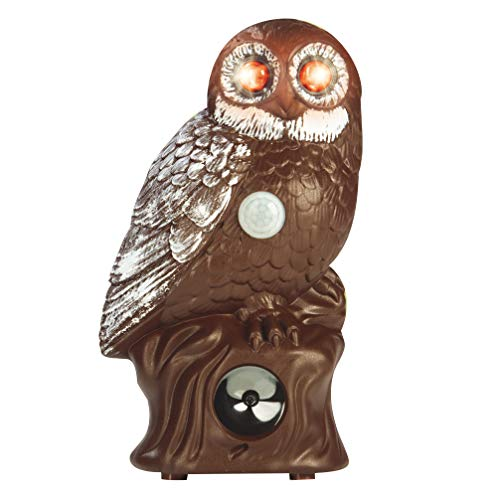 UNCLE SAM Owl Decoy Fake Garden Owl Scarecrow Motion Sensor Garden Guard with Flash Eyes Different Frightens Sounds Pest Repeller, Requires 4X AA Batteries (not Included)