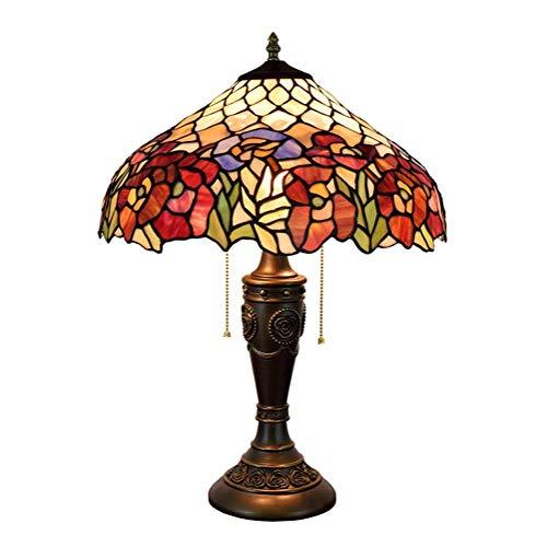 WEI-LUONG Lámpara de Mesa de Hierro Lotus Shade 16 Pulgadas Stained Glass Lámparas de Mesa de Habitaciones (40 cm) Vida de la lámpara lámpara de cabecera LED