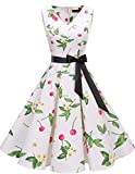 Bridesmay Women's 50s Vintage V-Neck Retro Rockabilly Swing Cocktail Party Dress Small Cherry M