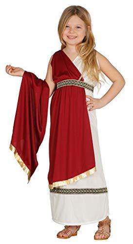Fiestas Guirca Elegante Römerin oder schicke griechische Göttin - Mädchen Kostüm Alter 10 - 12 Jahre in Weinrot u. Weiß mit goldenen Verzierungen - für Karneval / Fasching oder Themen Party