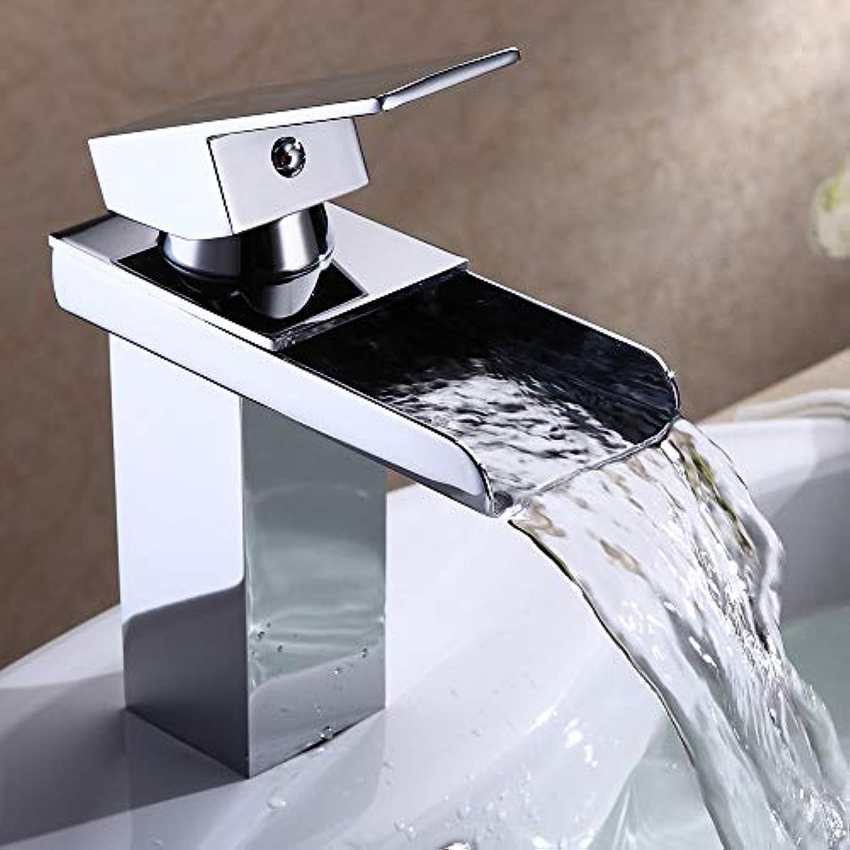 ETERNAL QUALITY Bad Waschbecken Wasserhahn Moderne Chrom Silber Hebel Messing Einlochmontage Einhand Wasserfall Waschbecken Wasserhahn