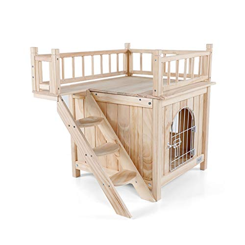 Mrw Indoor Pet Nest Pine Doppel-Hundehütte mit Türen und Treppen für Vier Jahreszeiten Universal (Color : Wood Color, Size : 72.5 * 54.5 * 64CM)