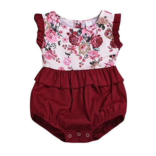 Puseky Baby Meisjes Baby Bloemen Print Mouwloos Romper Peuter Jumpsuit Outfits (6M-12M, Wijn Rood)