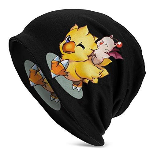 Beanie Final Fantasy Mog und Chocobo Unisex Soft Cuffed Plain Skull Knit Hat Cap, Polyester, Schwarz , Einheitsgröße