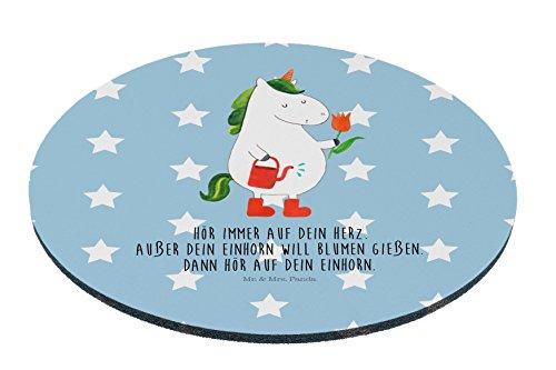 Mr. & Mrs. Panda Mousepad, Maus, Rund Mauspad Einhorn Gärtner mit Spruch - Farbe Blau Pastell
