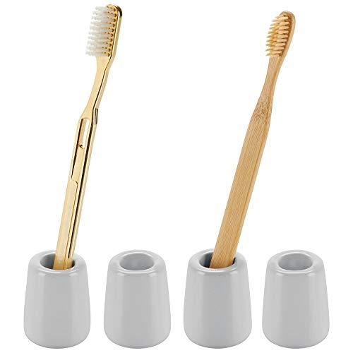 mDesign 2-delige set tandenborstelhouder in modern, compact design - ronde tandenborstels opslag van keramiek - vrijstaande badplank voor de wastafel of de spiegelkast 4er Pack grijs