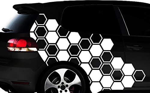 HR-WERBEDESIGN Hexagon Pixel Cyber Camouflage XXL Set Auto Aufkleber Tuning Wandtattoos