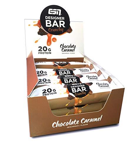 ESN Designer Bar Crunchy Box – 12x 60g – Chocolate Caramel – Protein Riegel ohne Zuckerzusatz - High Protein – Lower Carb – Ohne Palmöl - Made in Germany
