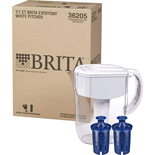 Brita Pitchers Clorox Large 10 Cup Everyday Bundle with Bonus Longlast Filtered Water Pitcher, w 2