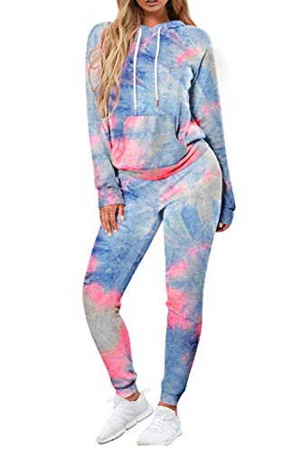 Tie Dye Sweatsuit 2 Peices for Women Sweatshirt with Hooded Drawstring and Sweatpant Lounge Set Pajama Wear Casual Tracksuit Large Tie dye Blue