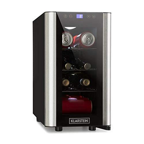Klarstein Vinovista Picollo - Frigo per vino, Frigorifero per bevande, 24 litri, 8 bottiglie, 4 ripiani, Illuminazione LED, silenzioso, temperatura regolabile 8°-18°C, nero-argento