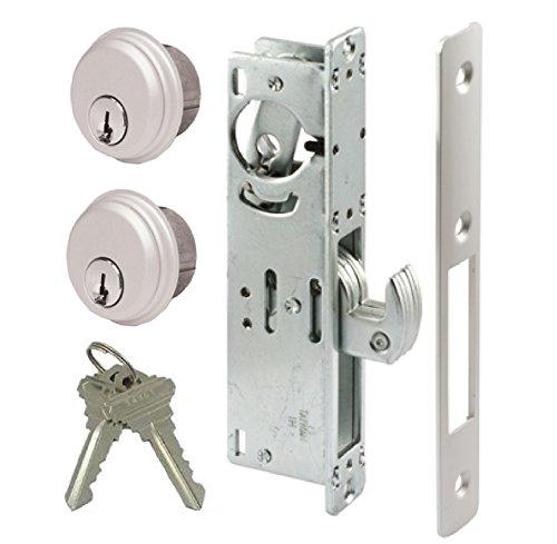 """Pacific Doorware Storefront Door Mortise Lock Hook Deadbolt & Double Keyed Cylinder Combo, Adams Rite Cam, in Aluminum (1-1/8"""" Backset)"""