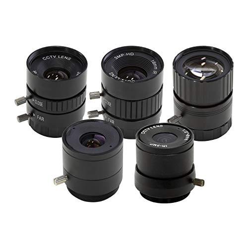Arducam CS-Mount Objektiv-Set für Raspberry Pi HQ Kamera (Typ 1/2.3), 6 mm bis 25 mm Brennweiten, 65 bis 14 Grad, Teleobjektiv, Weitwinkel, 5 Stück