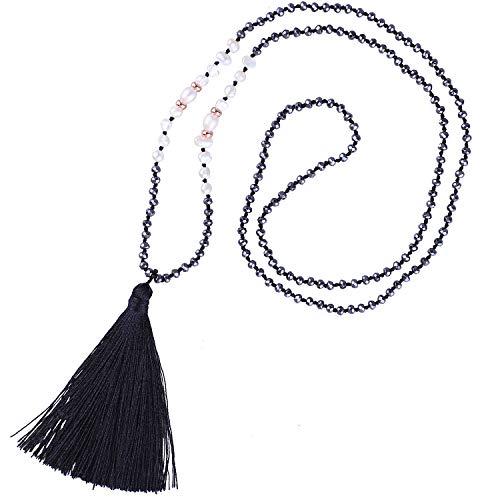 KELITCH Collar De Cuentas De Hematita con Perlas De Concha De Borlas Hechas A Mano Colgantes De Perlas Collares Gargantillas Joyería para Mujeres (Negro D)