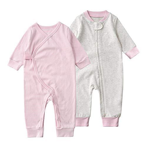 Baby Schlafstrampler Schlafoverall 100% Bio-Baumwolle ohne Fuß Einteiliger Langarm Schlafanzug Kleinkinder Strampelanzug Pyjama Reißverschluss Knopf 2er Pack Set Unisex für 0-24 Monate (Pink, 73cm)