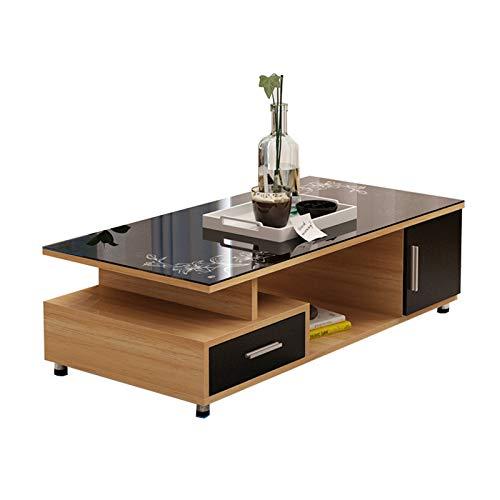 MEETGG Mesa de centro de TV, simplicidad de madera Vidrio templado, creatividad, materiales respetuosos con el medio ambiente, Adecuado para sala de estar, B, 2