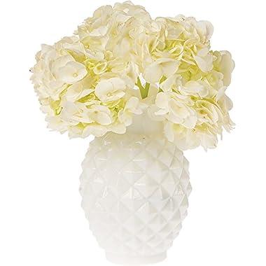 Luna Bazaar Vintage Milk Glass Vase (6-Inch, Willa Ruffled Pineapple Design, White) - Decorative Flower Vase - For Home Decor and Wedding Centerpieces