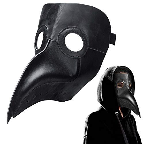 Pest-Doktor Schnabel-Maske Rabenmaske Vogel Cosplay Steampunk Seuchen-Doktor Halloween & Karneval aus PU-Leder