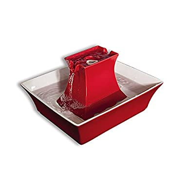 PetSafe Drinkwell Pagoda Ceramic Dog and Cat Water Fountain, Red, 70 oz.