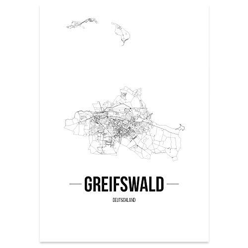 JUNIWORDS Stadtposter, Greifswald, Wähle eine Größe, 40 x 60 cm, Poster, Schrift B, Weiß