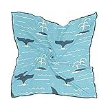 Alarge - Bufanda cuadrada de seda, divertida con diseño de ballena y gala, protector solar, ligera, suave, para mujeres y niñas
