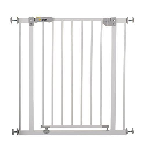 Hauck Open N Stop - Cancelletto di Sicurezza A Pressione per Bambini, Estensibile con Estensioni Vendute Separatamente, Metallo, Bianco, Per Aperture da 75 a 80 cm