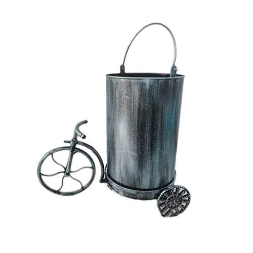 Papeleras Papelera industrial Recipiente for reciclaje Papelera de hierro forjado Decoración de bicicletas Bar Restaurante Oficina Sala de estar Contenedor de basura Cubos de basura ( Color : Silver )