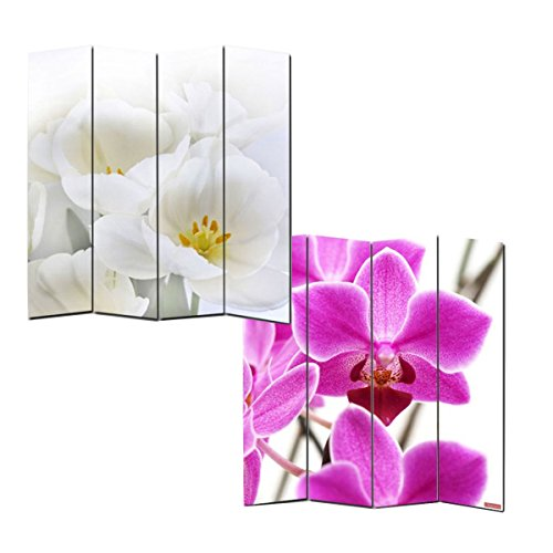 Mendler Foto-Paravent Paravent Raumteiler Trennwand M68~180x160cm, Orchidee