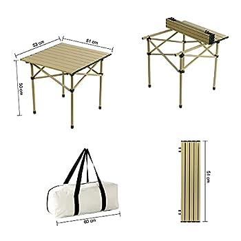 PUCHIKA Table de camping avec 2 chaises et sac de transport, table de voyage en aluminium, table portable pour camping, pique-nique, jardin, facile à plier, vert olive et blanc, 60 x 25 x 20 cm pliée.