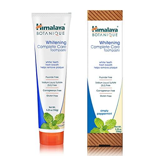 Himalaya Botanique Whitening Toothpaste Simply Peppermint 150g - Natürliche Zahnpasta ohne Fluorid, SLS, Gluten, Carrageenan - Entfernt Plaque und Mundgeruch, verhindert Karies und Zahnfleischbluten
