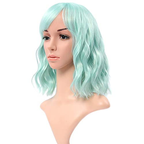 """VCKOVCKO Natural Wavy Wig With Air Bangs Light Green Colorful Short Bob Wigs for Women's Shoulder Length Wigs Curly Wavy Cosplay Wig Bob Wig for Girls(12"""",Light Green)"""