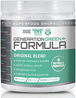 Generation Greens Powder | Organic Superfood Powder with 60 Powerful Ingredients | Chlorella, Spirulina, Wheat Grass and CoQ10 Included | 30 Servings, Original