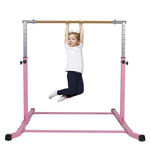 Gymbarpro Gymnastics Junior Training Bar for Kids  Expandable Gym Jr Horizontal Kip Bar for Gymnast Beginner Home Training, Pink Bar