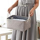 Cesta de almacenamiento de cuerda, organizador de lino resistente al agua con asas de 30,4 x 20,3 x 12,7 cm, cesta para manta de bebé, cesta de ropa para niños (gris)