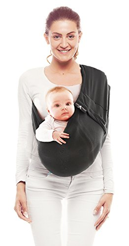 Wallaboo Baby Tragetuch Connection, 100% Baumwolle, Passt sich der Form Ihres Baby genau an, Atmungsaktiv, Weich, Ergonomische Babytragetuch, Für Neugeborene und Babys bis 15 kg, Farbe: Schwarz