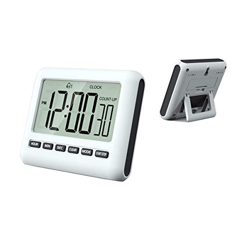 F.G. MINGSHA 12/24 Hours Magnetic Kitchen Timers with Digital Alarm Clock Timer, Big Screen Loud Alarm & Strong Magnet, Count-Up & Count Down for Kitchen Baking Sports Games Office Study (Black)