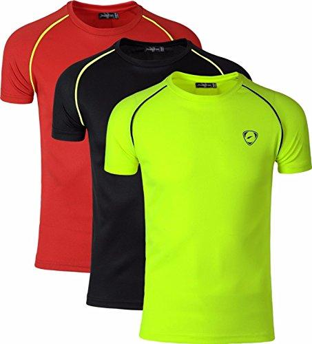 jeansian 3 Packs Uomo Maglietta Sportiva a Manica Corta Tee Shirt Tshirt T-Shirt vestibilità Asciutta Tennis Golf Bowling Tops LSL182_PackB M