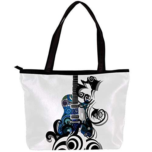 Vockgeng Bolso de mujer Guitarra eléctrica azul Bolsos de hombro de totalizador...