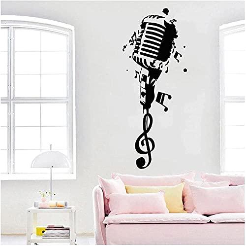 TJVXN Etiqueta engomada de la Pared del micrófono Karaoke Club calcomanía Nota Musical Arte Adhesivo músico decoración del hogar decoración del Dormitorio 57X142cm