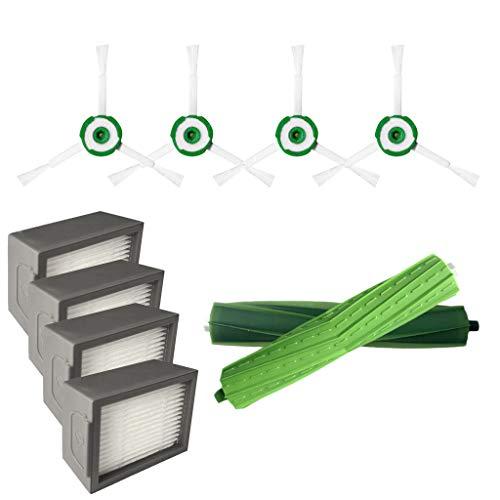 Aeanm Replenishment Accessory Kit for Irobot Roomba I7 I7+/I7 Plus E5 E6 E7 Vacuum Cleaner, Includes High-Efficiency Hepa Filters and Bristle Brush ELGA-BTD0169BK Parts E