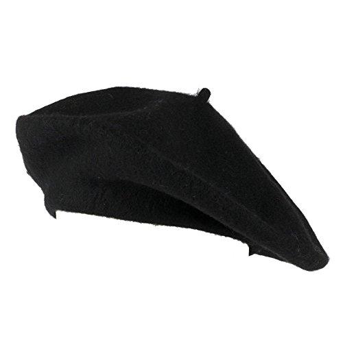 Hat To Socks Einfarbige Baskenmütze aus Wollgemisch für Damen und Herren (Schwarz)