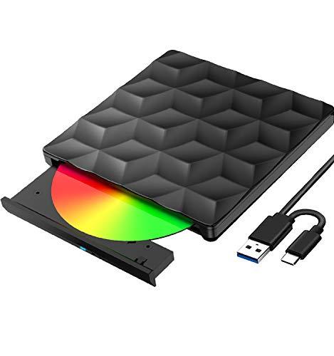 Externes CD DVD Laufwerk USB 3.0 und Typ C, Tragbar CD/DVD-RW Lesegerät DVD/CD Brenner Schnelle Datenübertragung Optisches USB Laufwerk, Plug & Play, für Laptop, Desktop, Mac OS, Windows 10/8/7, Linux