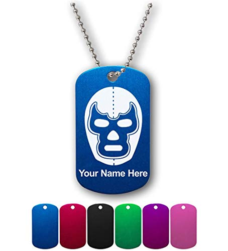 Military Style ID Tag, Luchador Mask, Personalized Engraving Included