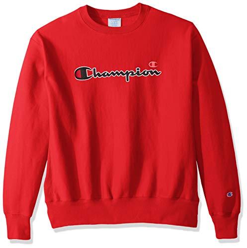 Champion LIFE Men's Reverse Weave Sweatshirt, team red scarlet/CHAINSTITCH script, X-Large