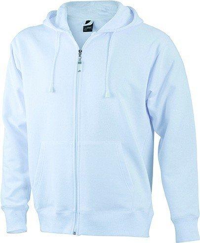 JN042-1 Men´s Hooded Jacke Sweatjacke Kapuze Sweatshirt, Farbe:white;Herrengrößen:3XL XXXL,White by ./.