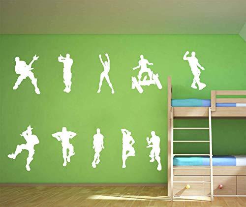 ALiQing Juego de pegatinas de pared para juegos de póster de música patinaje baile pegatinas de pared para niños adolescentes dormitorio sala de juegos decoración de pared (blanco)