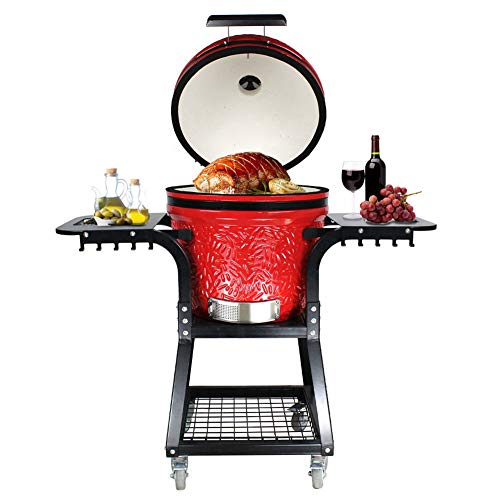 """RJMOLU 16"""" Ceramic Grill, Roaster and Smoker. BBQ Grill, Multifunctional Portable Folding Charcoal Barbecue with Shelf and Trolley, Outdoor Kitchen Style Egg Ceramic Bbq Grill"""