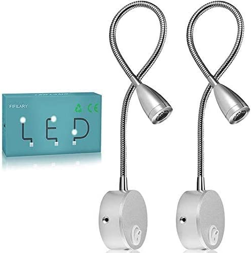 Reading Lamp, LED Bed Lights Wall-Mounted Beside Lamps with Aluminum Night Lighting Plug Wired Sconce Lamp, 200LM / 3...